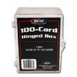Trading Card Storage Box Acrylic - Holds 100 Cards, Hinged Lid x 4 Pack